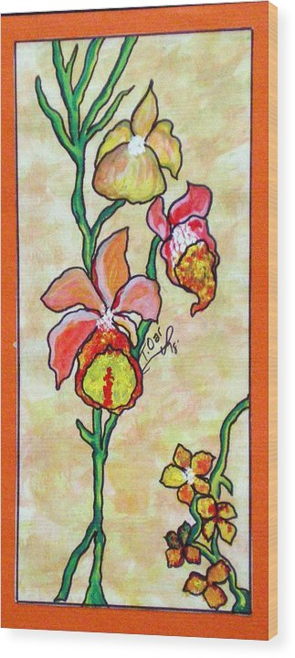 Flowers Flower Warm Wood Print featuring the painting Warm Flower Study by Tammera Malicki-Wong