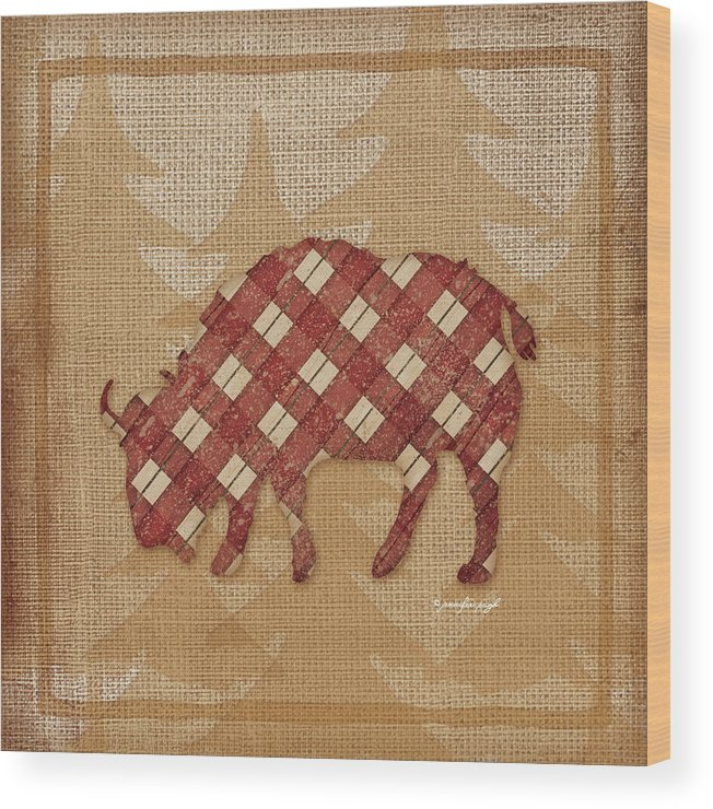 Cabin Wood Print featuring the painting Buffalo Plaid by Jennifer Pugh