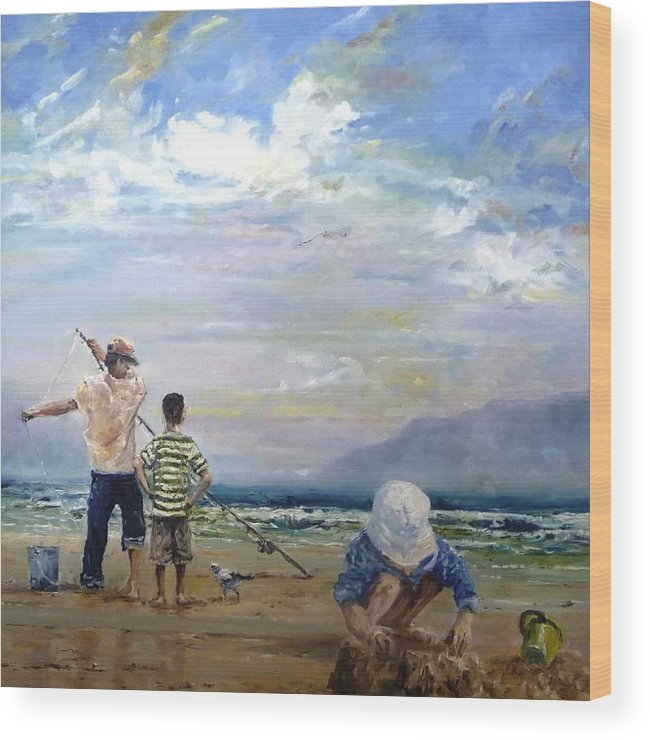 Beach Wood Print featuring the painting Building Sand Castles by Diko