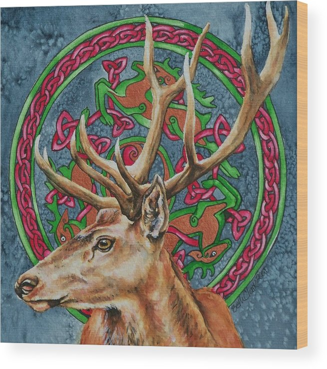 Celtic Wood Print featuring the painting Celtic Stag by Beth Clark-McDonal
