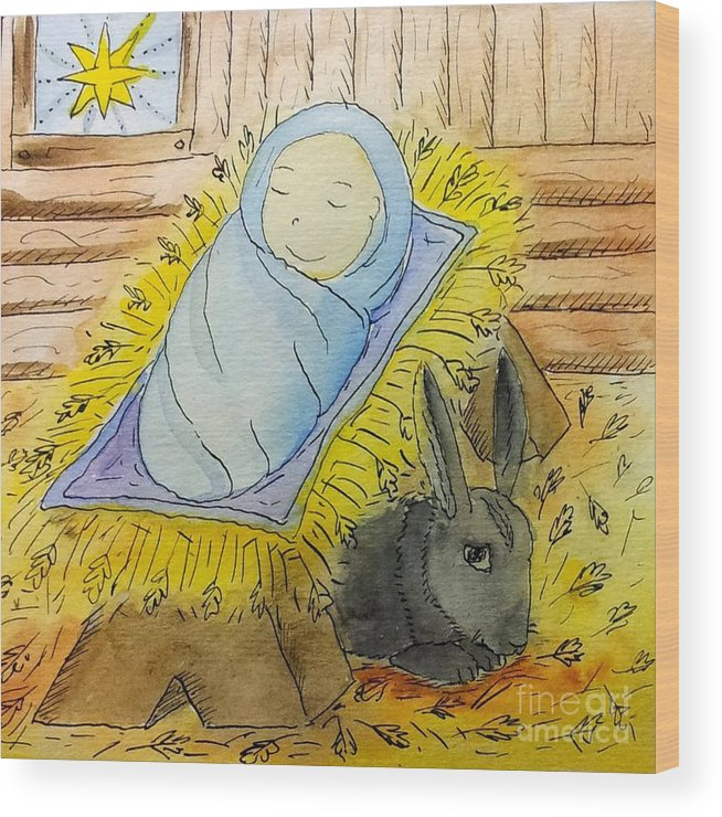 Christmas Wood Print featuring the drawing Christmas Story Illustration by Maryna Salagub