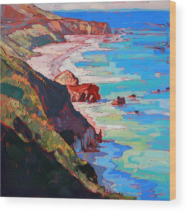 California Coast Wood Print featuring the painting Coast Line by Erin Hanson