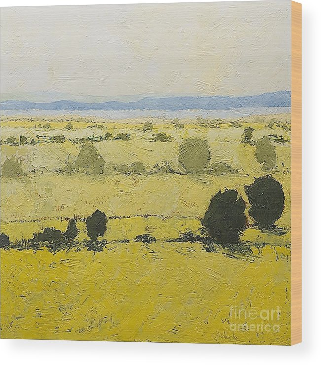 Landscape Wood Print featuring the painting Dry Grass by Allan P Friedlander