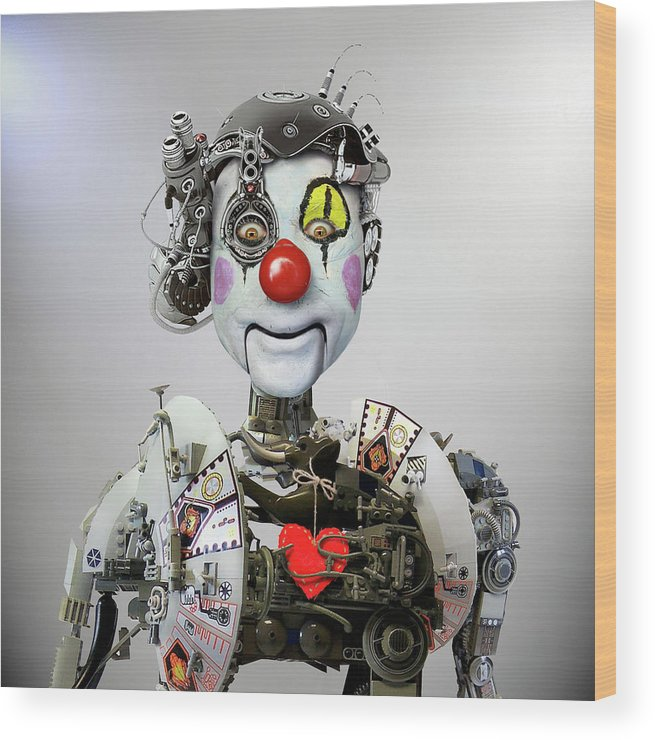 Clown Wood Print featuring the photograph Electronic Clown by