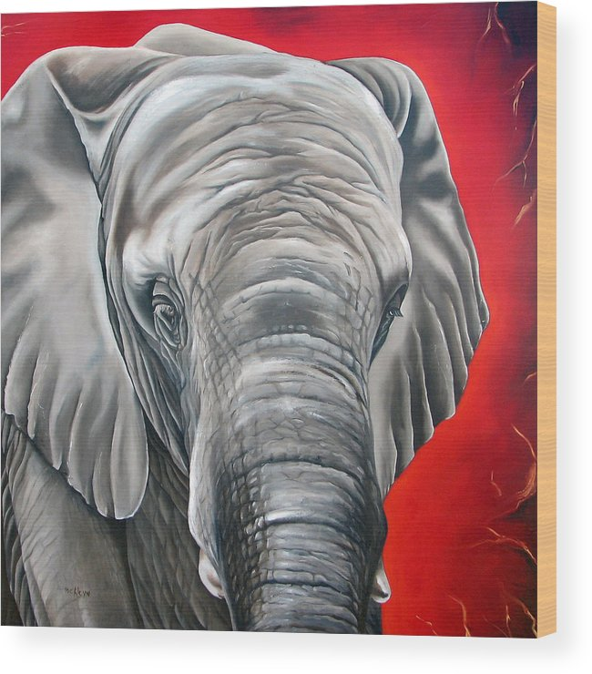 Elephant Wood Print featuring the painting Elephant Six Of Eight by Ilse Kleyn