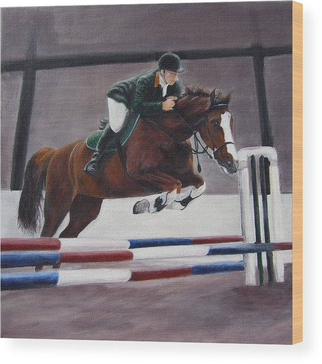 Equestrian Wood Print featuring the painting Equestrian Show. Jumping Sport Horse by Inna Bredereck