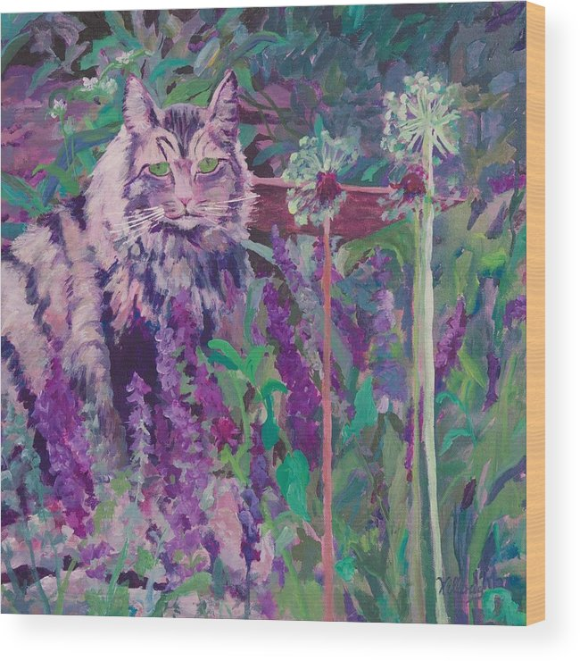 Cat Painting Wood Print featuring the painting Fletcher's Garden by Joan Willoughby