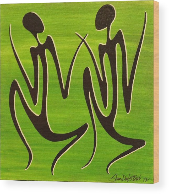 Acrylic Wood Print featuring the painting Green Dancers by Sheen Douglas Eisele