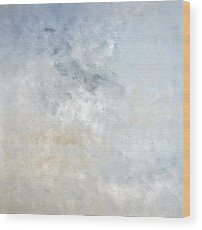 Brown Wood Print featuring the painting Gathered - Grey And Beige Abstract Art Painting by CarolLynn Tice