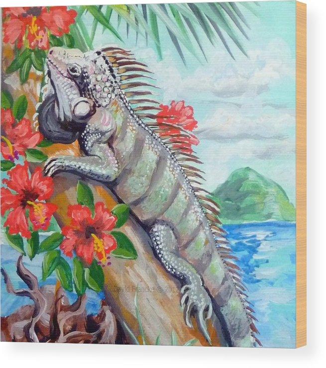 Caribbean Wood Print featuring the painting Iguana Hibiscis by David Francke