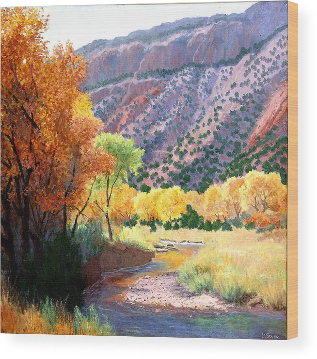 New Mexico Wood Print featuring the painting Jamez Fall by Douglas Turner