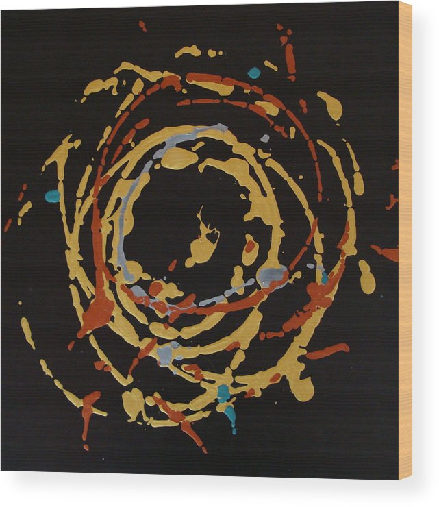 Abstract Wood Print featuring the painting Solaris by Holly Picano