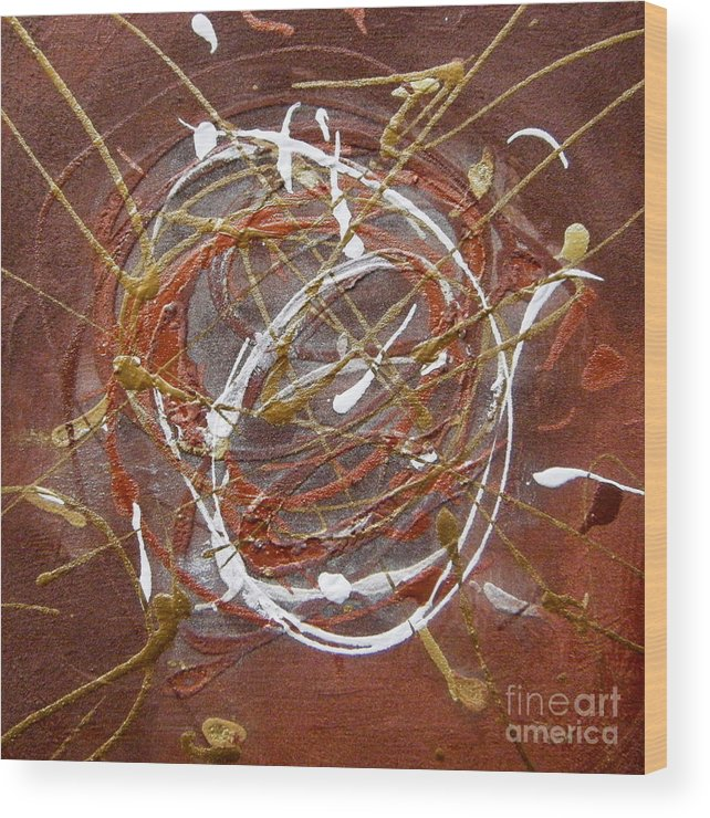 Bronze Wood Print featuring the painting Solaris One by Holly Picano