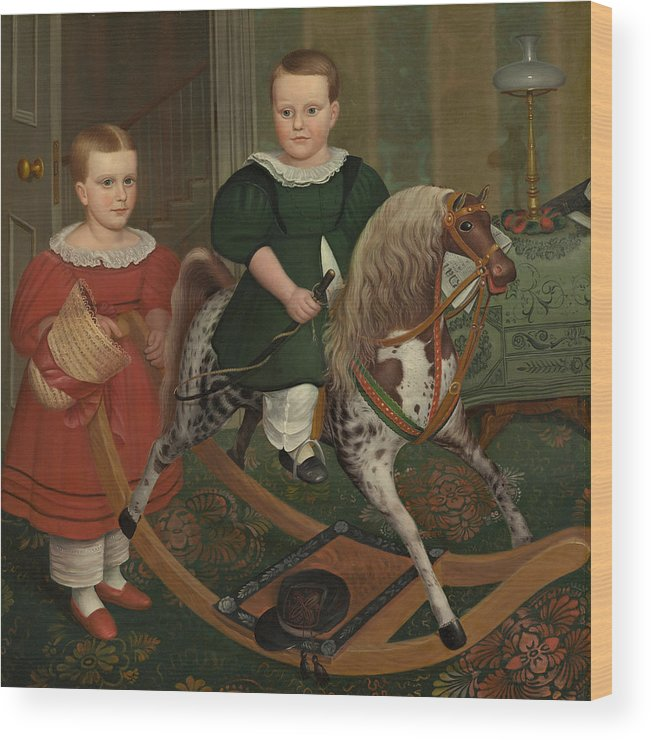 The Hobby Horse Wood Print featuring the painting The Hobby Horse by American School