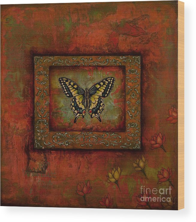 Butterfly Wood Print featuring the painting The Leap by Sandra Dawson
