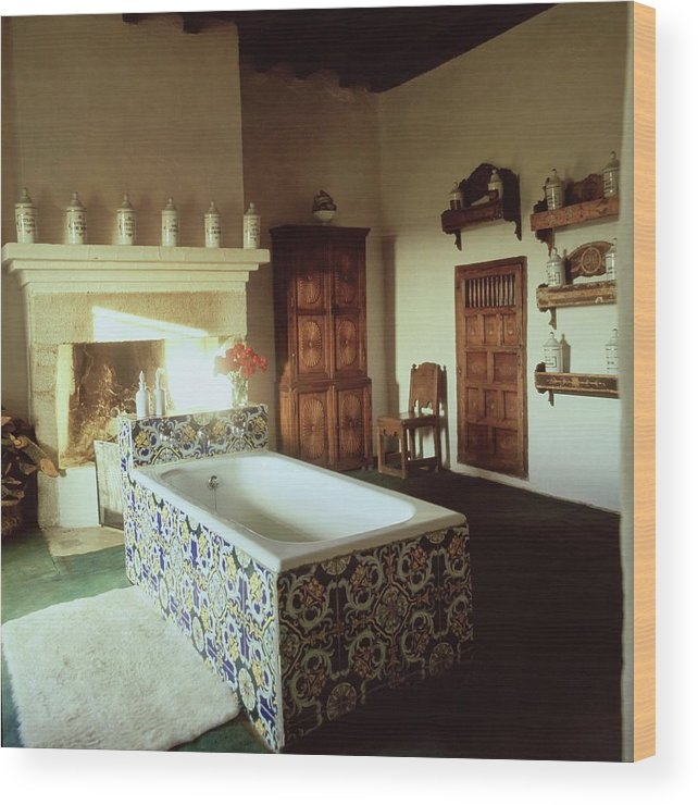 Bathroom Wood Print featuring the photograph Tiled Bathroom In Pascualete by Henry Clarke