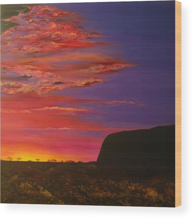 Landscape Wood Print featuring the painting Uluru Sunset by June Koberle