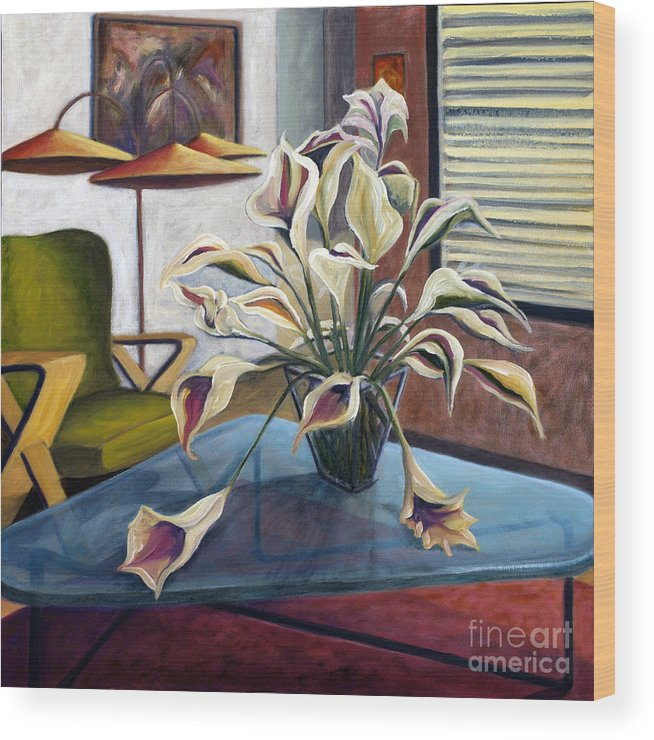 Still Life Wood Print featuring the painting 01254 Mid-century Modern by AnneKarin Glass