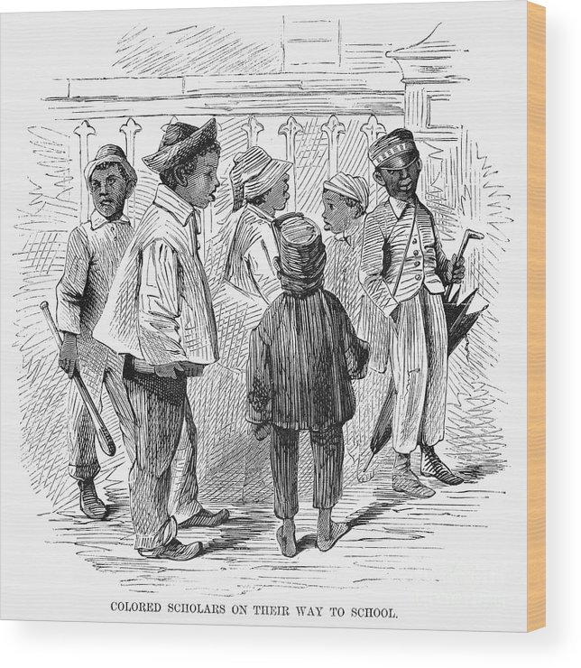 1867 Wood Print featuring the photograph Black School Children by Granger