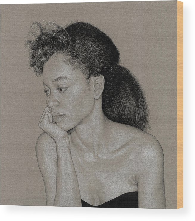 Charcoal Wood Print featuring the drawing Gillian 1 by David Kleinsasser