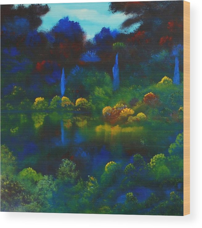 Landscape Wood Print featuring the painting Mount Auburn by David Snider