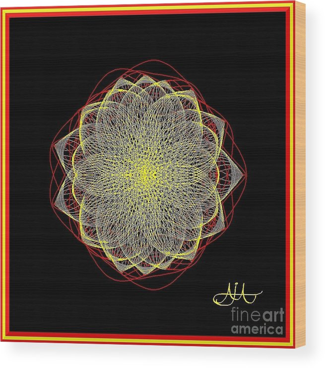 Petals Wood Print featuring the drawing Petalis-redyellow by AJ Modiest