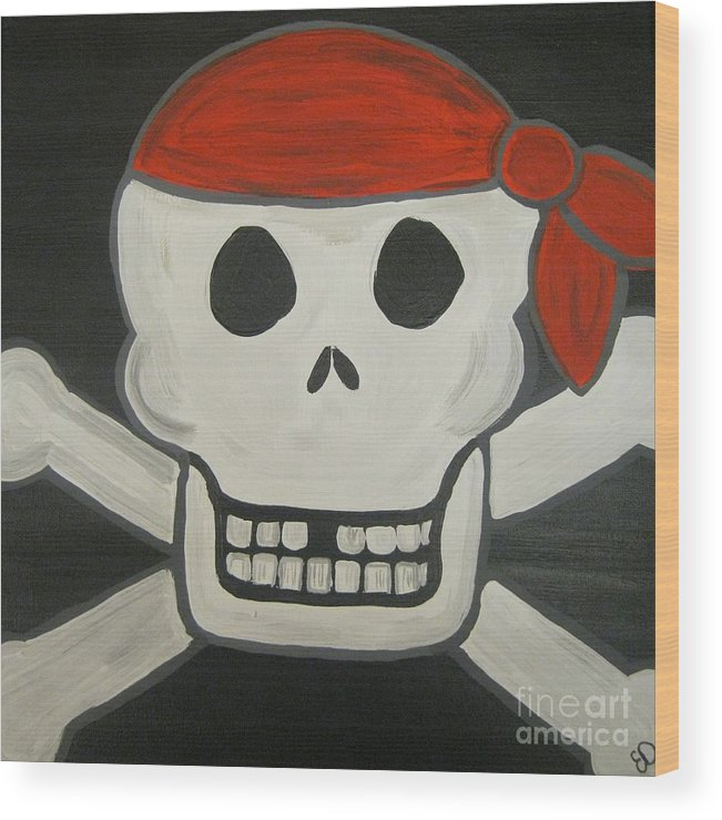 Skeleton Wood Print featuring the painting Steve The Pirate After Dark by Eva Dunham