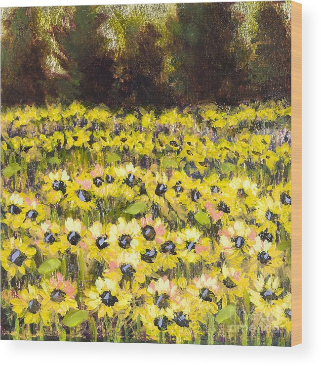Sunflowers Wood Print featuring the painting Sunflower Field Series W Silver Leaf By Vic Mastis by Vic Mastis