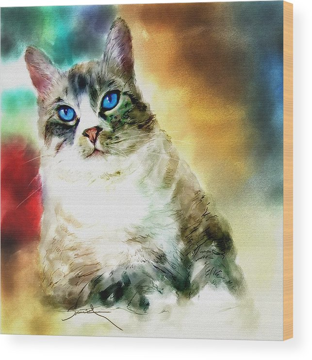 Cat Wood Print featuring the painting Toby The Cat by Robert Smith