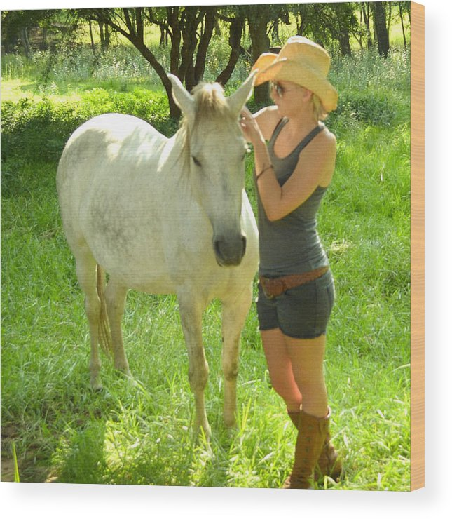 White Horse With Young Lady. Wood Print featuring the photograph Whisper by Joris Shaw