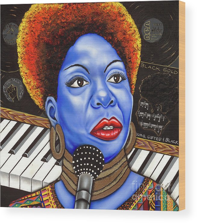 Blue Painting Wood Print featuring the painting A Part Of Nina Simone by Nannette Harris