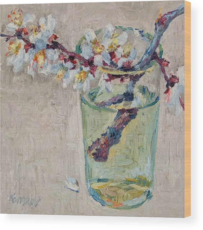 Blossoming Wood Print featuring the painting Blossoming Branch In A Glass by Vitali Komarov