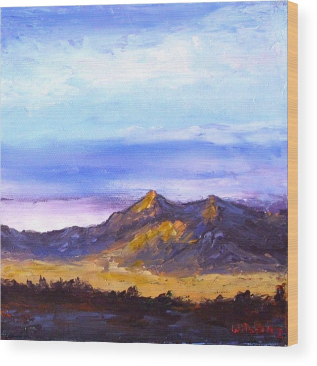 Landscape Wood Print featuring the painting Mesa Sunset by Fred Wilson