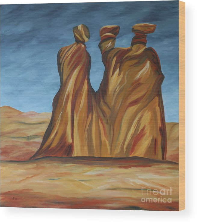 Landscape Wood Print featuring the painting The Three Gossips by Christiane Schulze Art And Photography