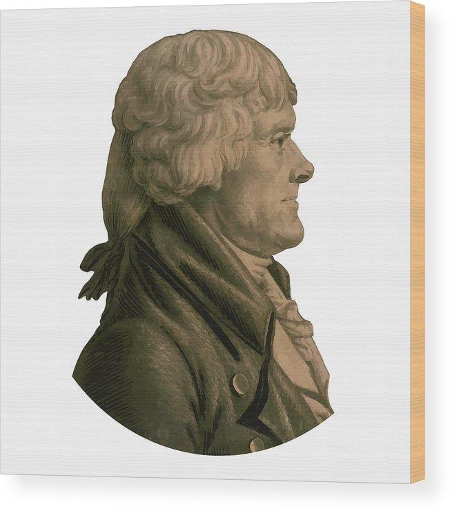 43258c311dbb Thomas Jefferson Wood Print featuring the painting Thomas Jefferson Profile  by War Is Hell Store