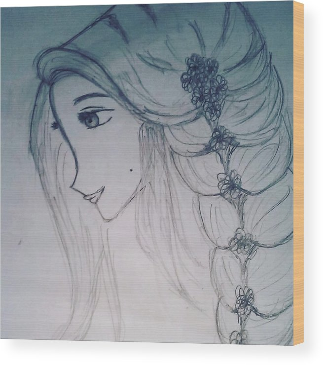 Girl Wood Print featuring the drawing A Girl by Chandana R