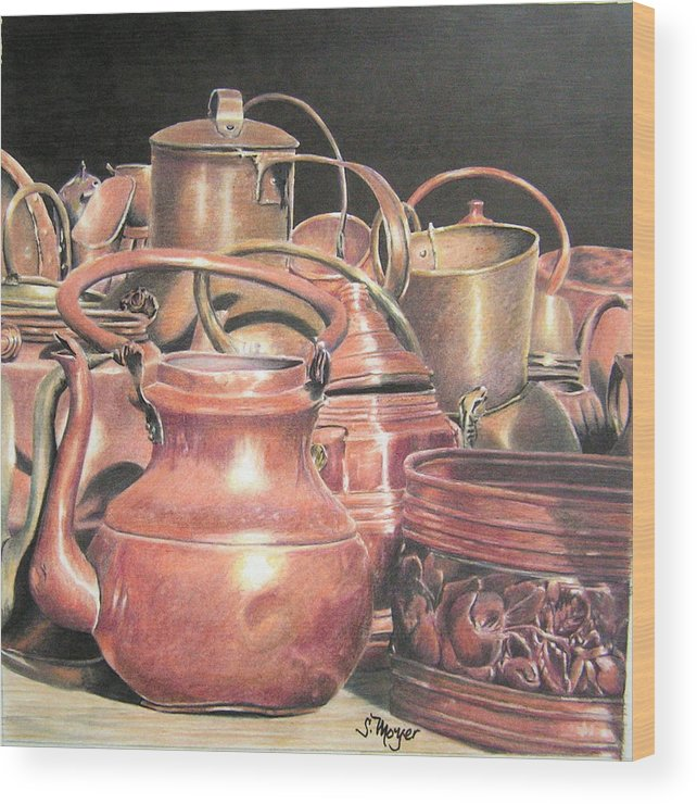 Still Life Wood Print featuring the drawing A Plethora Of Pots by Susan Moyer