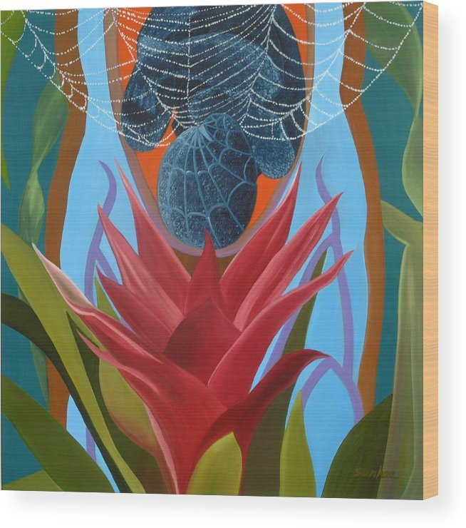 Spider Wood Print featuring the painting A Spider Baby by Sunhee Kim Jung