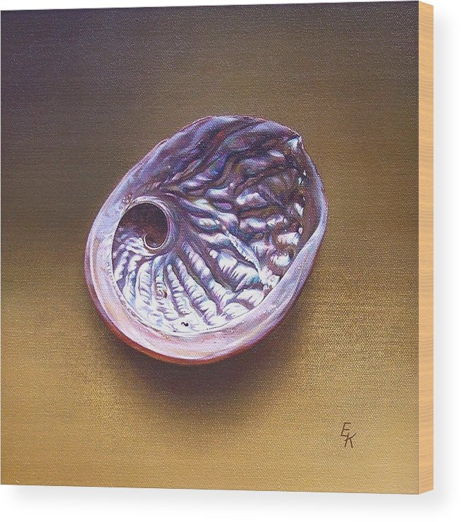Shell Wood Print featuring the painting Abalone Shell - A by Elena Kolotusha