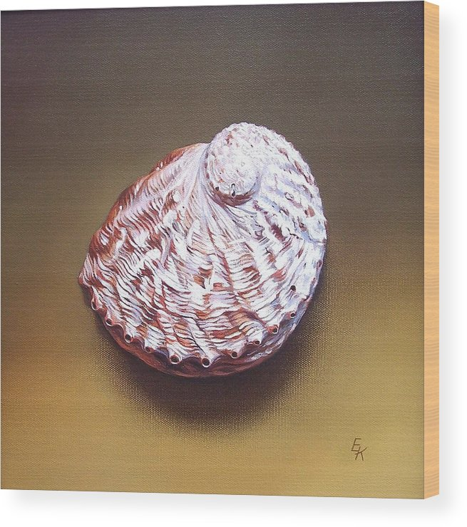 Shell Wood Print featuring the painting Abalone Shell - B by Elena Kolotusha