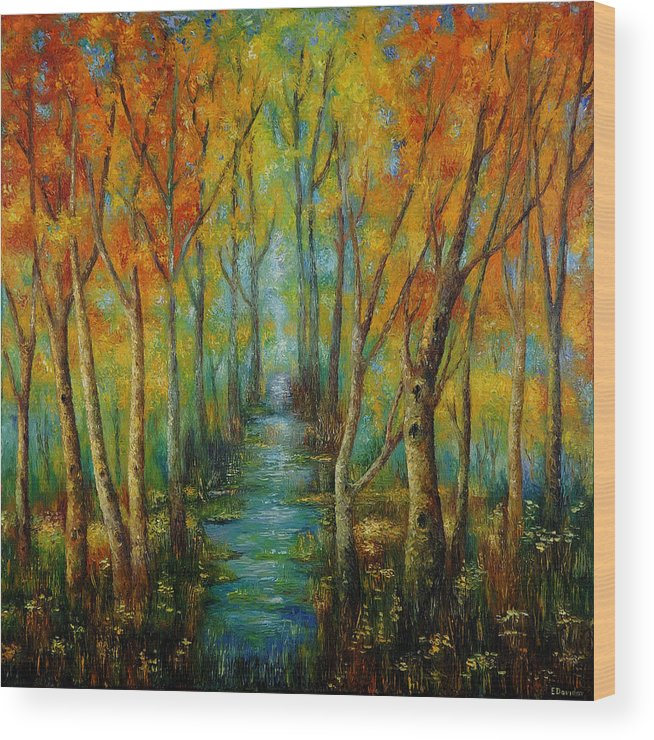Painting Wood Print featuring the painting After Rain. by Evgenia Davidov
