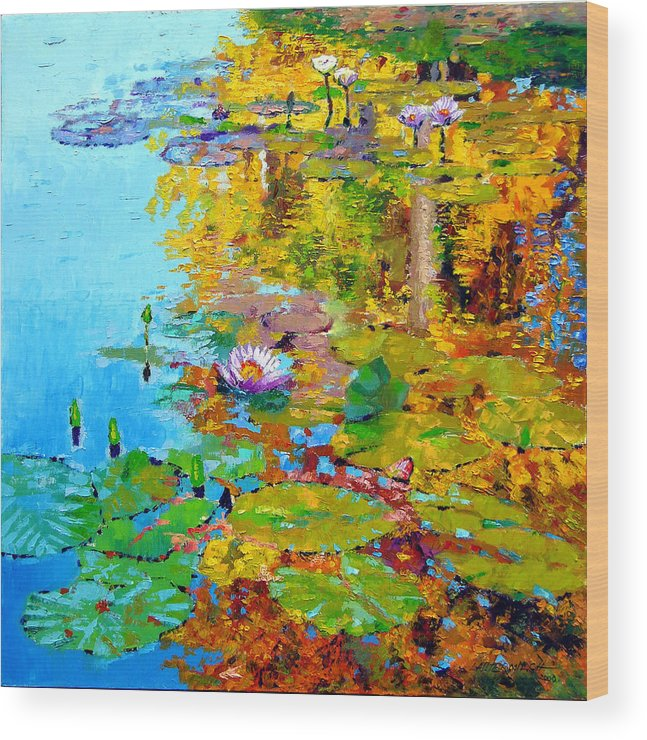 Fall Wood Print featuring the painting Aglow With Fall by John Lautermilch