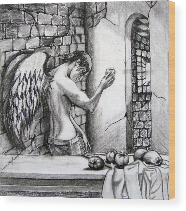 Still Life Wood Print featuring the painting Angel And Still Life by Maritza Sanipatin