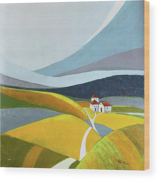 Landscape Wood Print featuring the painting Another Day On The Farm by Aniko Hencz