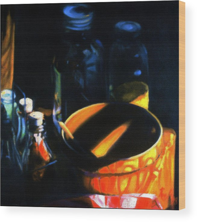 Still Life Wood Print featuring the painting Antique Crock And Mason Jar by Patricia Reed