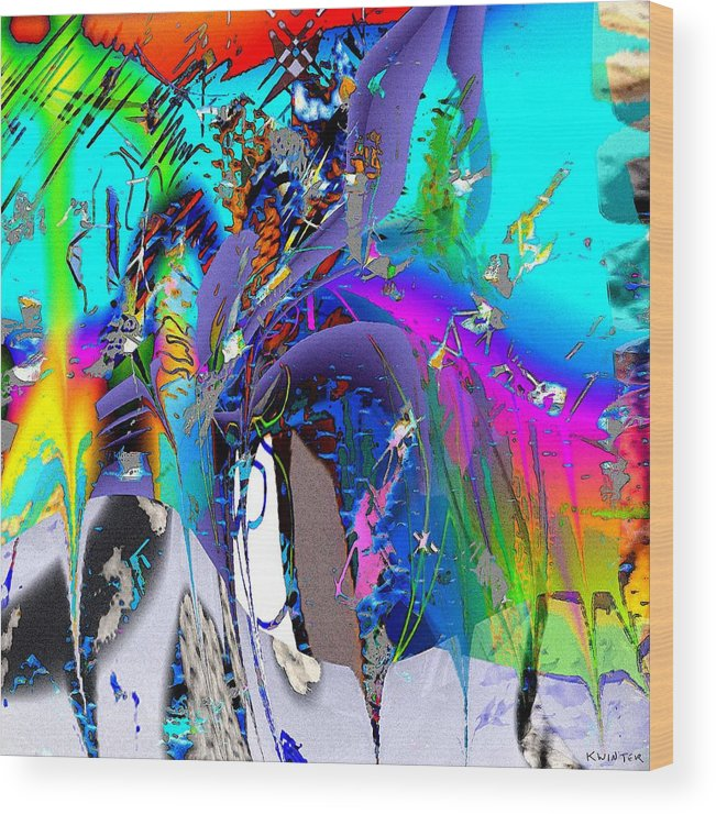 Abstract Red Blue Yellow Purple Wood Print featuring the digital art Ants by Dave Kwinter