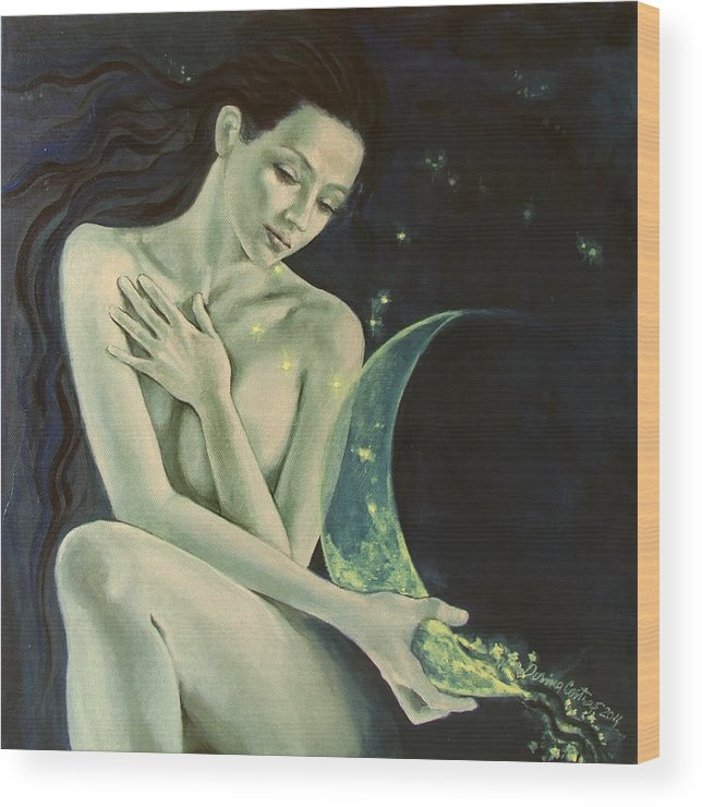 Art Wood Print featuring the painting Aquarius From Zodiac Signs Series by Dorina Costras