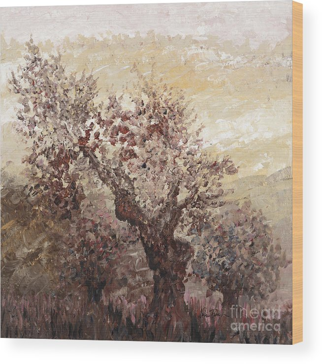 Landscape Wood Print featuring the painting Asian Mist by Nadine Rippelmeyer