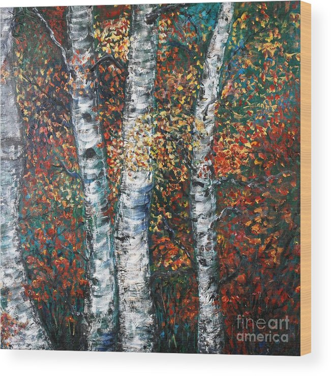 Birch Wood Print featuring the painting Autumn Birch by Nadine Rippelmeyer