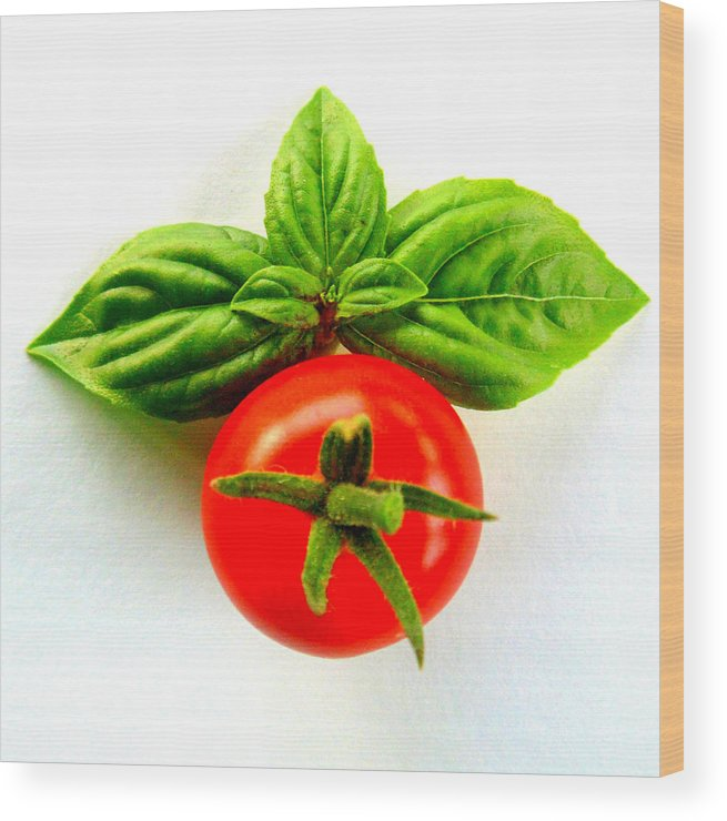 Basil Wood Print featuring the photograph Basil And Cherry Tomato by Sarah Black